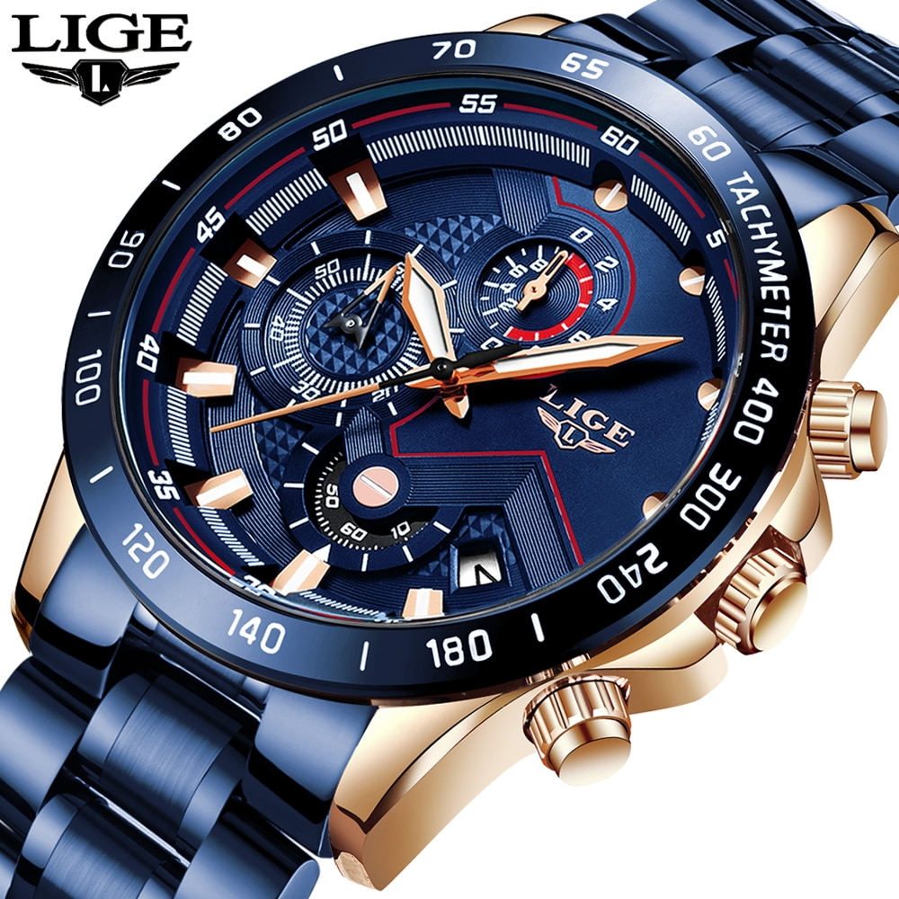 LIGE 2020 New Fashion Mens Watches with Stainless Steel Top Brand Luxury Sports Chronograph Quartz W