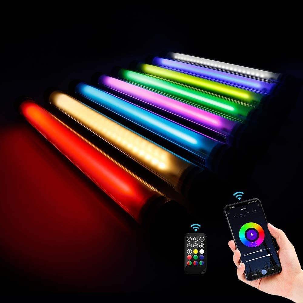 LUXCEO RGB Handheld Photography Light with APP Control 360 ° Full Color LED Video Light Wand 12 Lighting Modes,CRI≥95 IP68 enlarge