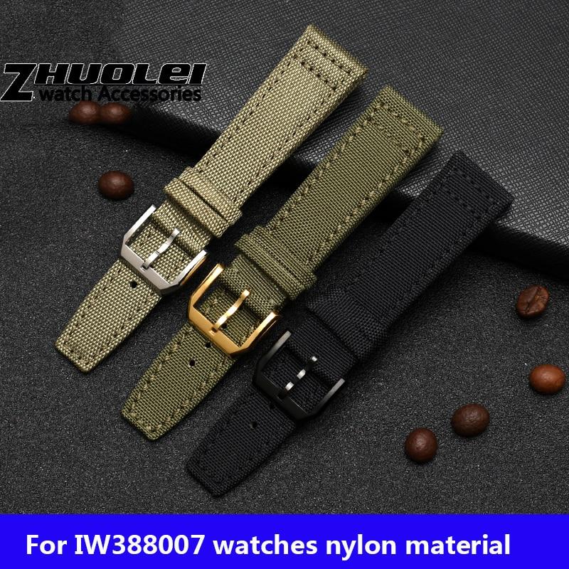 For IW Pilot Spitfire Timezone TopGun Strap Green Black Belts Wristwatch Straps 20mm 21mm 22mm Nylon
