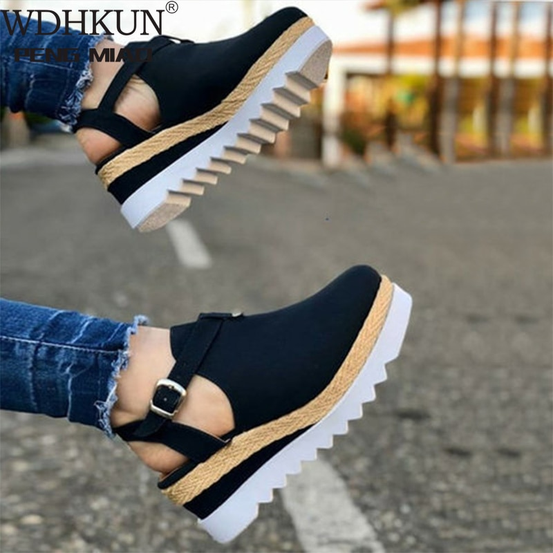 Women's Sandals Vintage Wedge Shoes Woman Buckle Strap Straw Thick Bottom Flats Platform Sandals Flock Female Shoes Summer 2020
