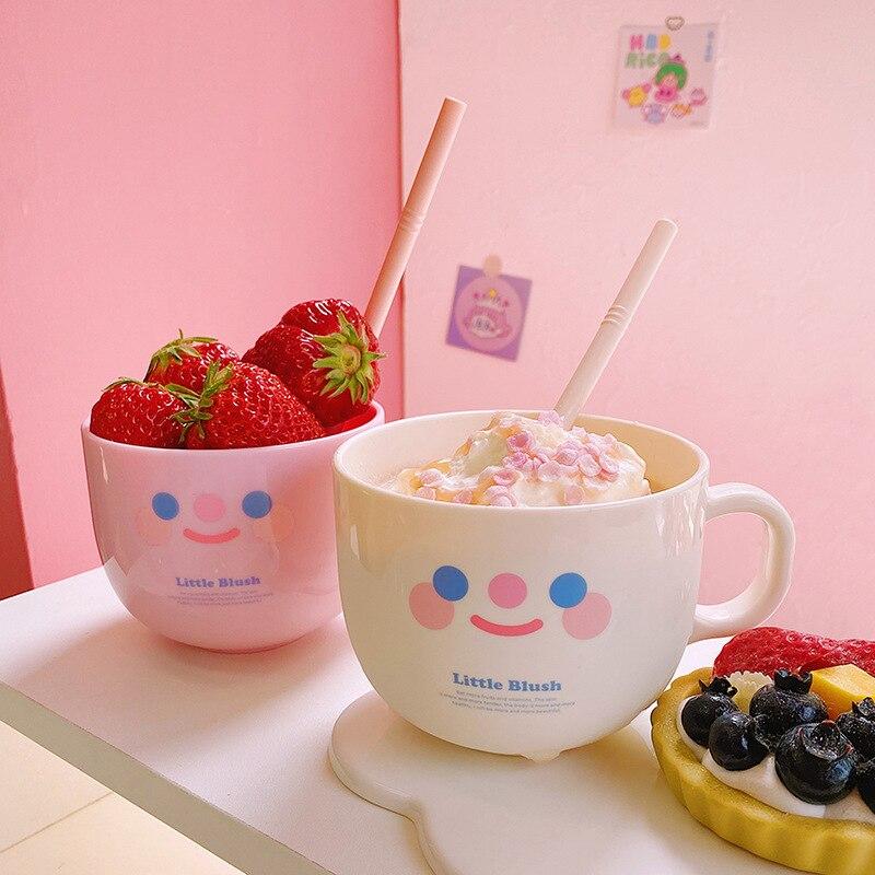 Oape 500ml criativo bonito personalidade sippy carry cup plástico café da manhã leite sorvete sobremesa caneca de água com palha