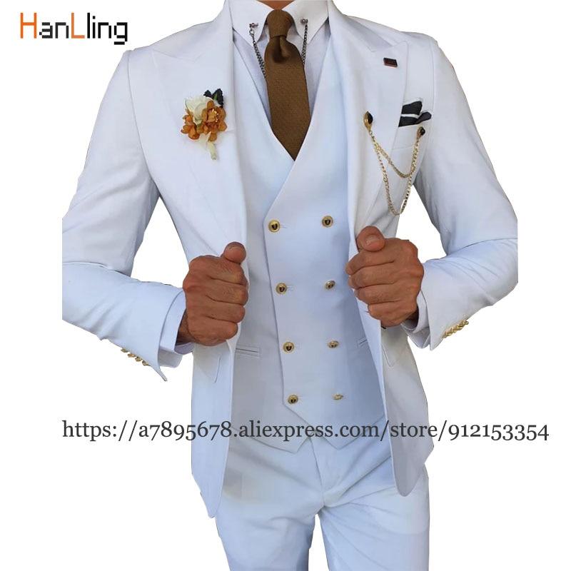 Мужское платье-смокинг для жениха из 3 предметов, деловой облегающий пиджак, мужской костюм, блейзер + брюки + жилет, мужской костюм