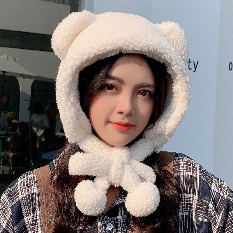 2021 New Fashion Lei Feng Hat Japanese Cute Bear Ear Ear Protection Warm Korean Version of Wild Plus