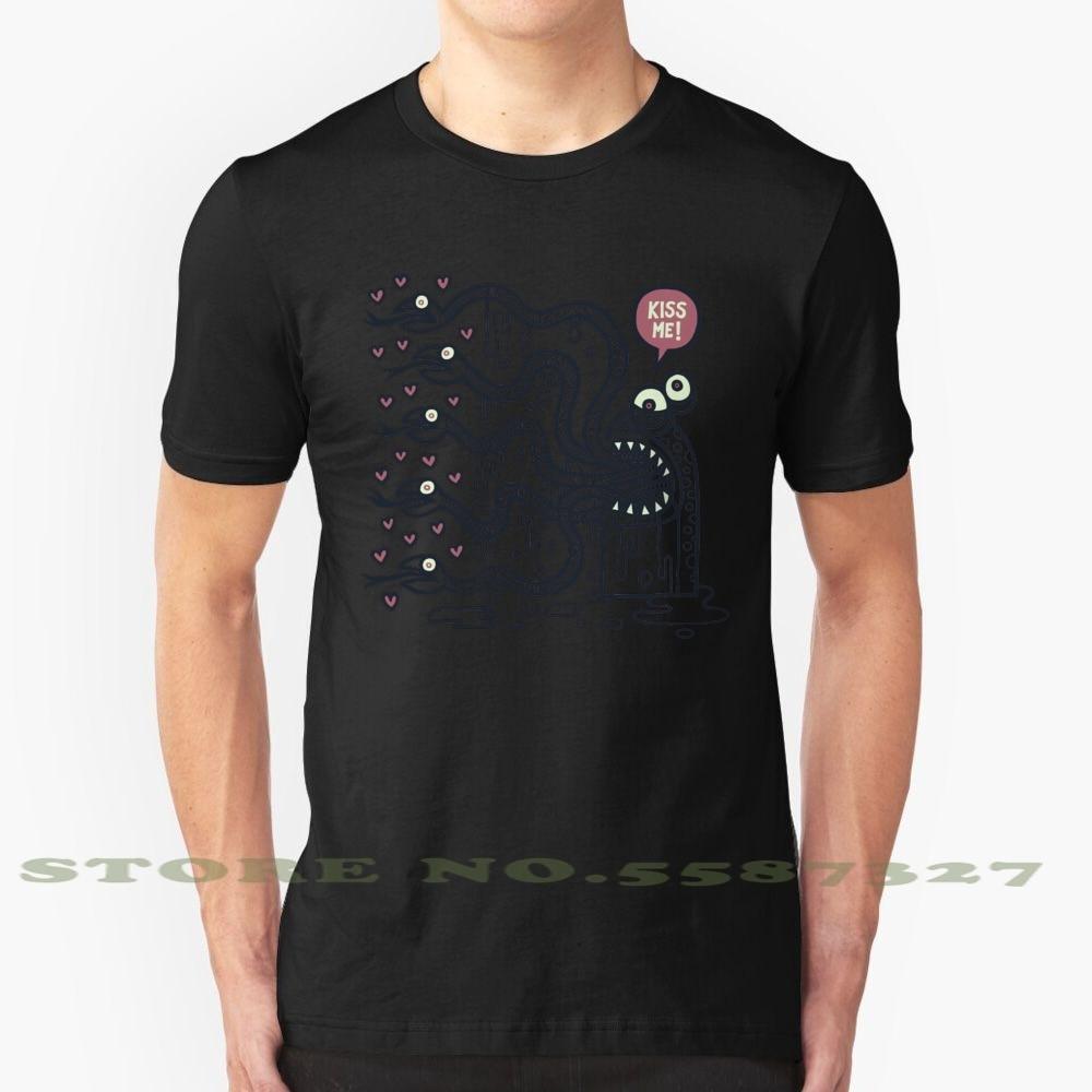 Kiss Me negro blanco camiseta para hombres mujeres Kiss Peck Smooch Love Passion Five serpiente lengua Saliva babero deseo lujuria