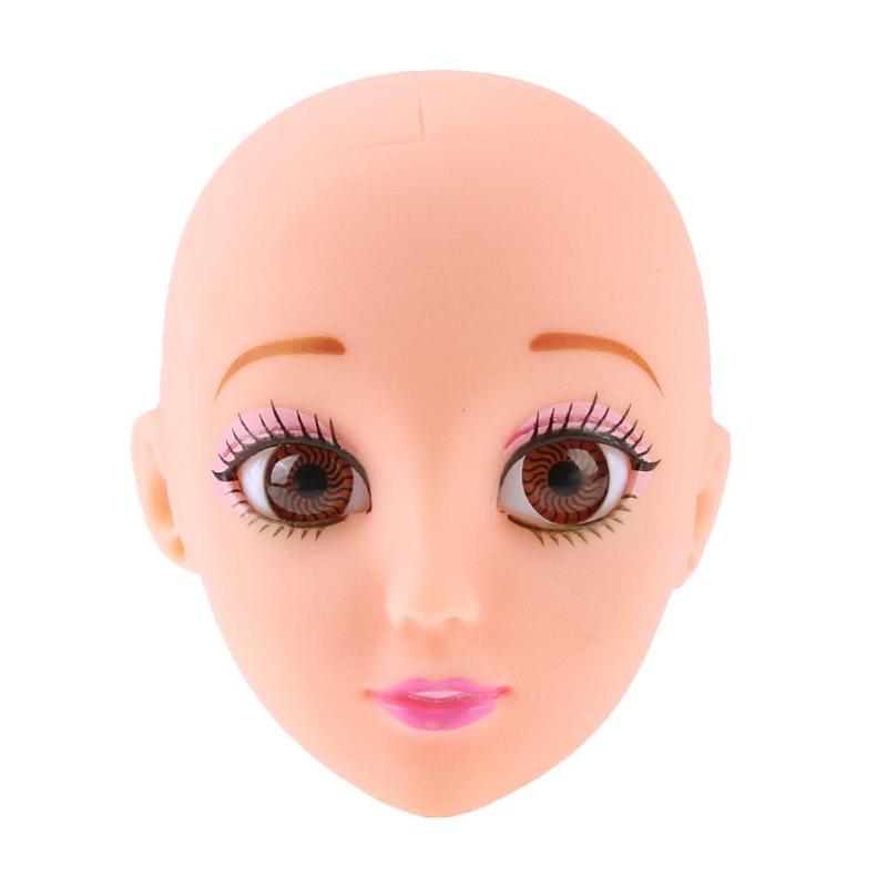 Lentes cosméticas 3D cabeza de muñeca desnuda réplica de cabeza de plástico sin pelo para hornear molde morir cabeza de muñeca accesorios cabeza de maniquí