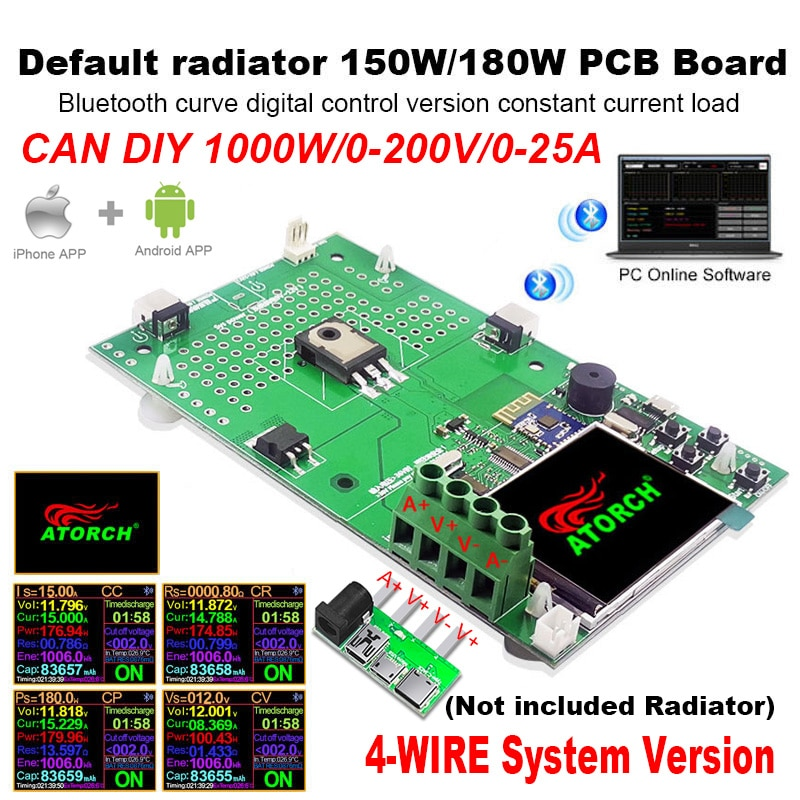 DIY 1000W 4 wire DC USB tester electronic load lithium battery capacity monitor discharge charge pow