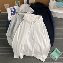 Winter Ins Fashion Brand Solid Color Velvet Padded Hooded Sweatshirt Men's Korean Style Trendy Stude