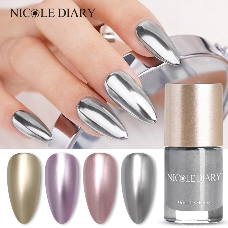 NICOLE DIARY 9ML Mirror Effect Metallic Nail Polish Purple Rose Gold Silver Chrome Nail Art Varnish Nails Lacque Liquid