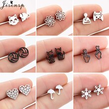 Cartoon Animal Stainless Steel Earrings for Women Girls Christmas Jewelry Geometric Heart Fox Snowfl
