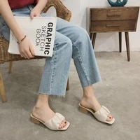 slippers women summer 2021 new sexy square toe high heels wrinkles outerwear stiletto miller sandals and slippers women tx457