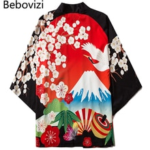 Bebovizi fleurs Kimono femmes Cardigan rouge Haori Yukata japonais Harajuku Streetwear homme Tradition vêtements en ligne magasin chinois