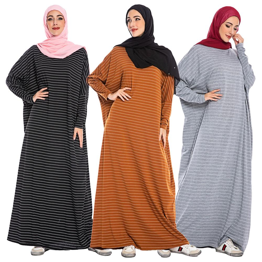 Casual mujeres musulmán rayas murciélago manga Maxi vestido Dubai islámico Jilbab Kaftan suelto Turquía señoras ropa vestidos Vintage nuevo