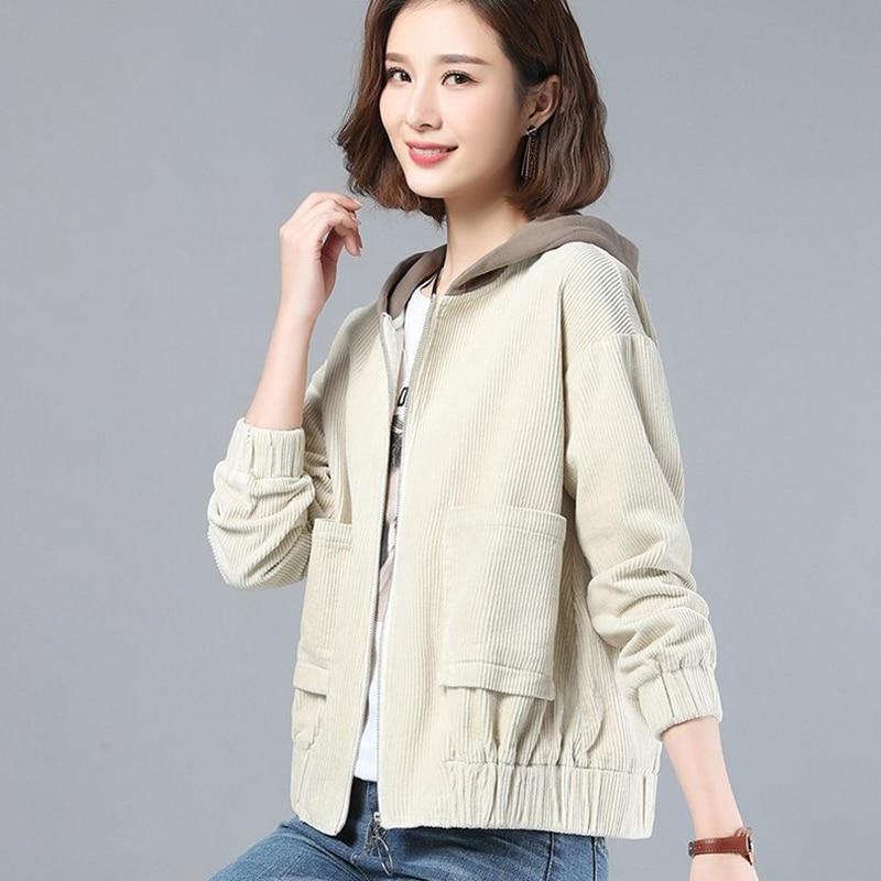 Brown Top Short Oversized Corduroy Jackets Women Autumn Zipper Up Pockets Hooded Jacket Woman Casual Loose Women's Windbreaker