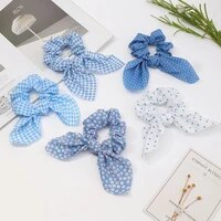 new polka dot bowknot blue elastic hair bands for women girls scrunchies headband hair ties ponytail holder hair accessories