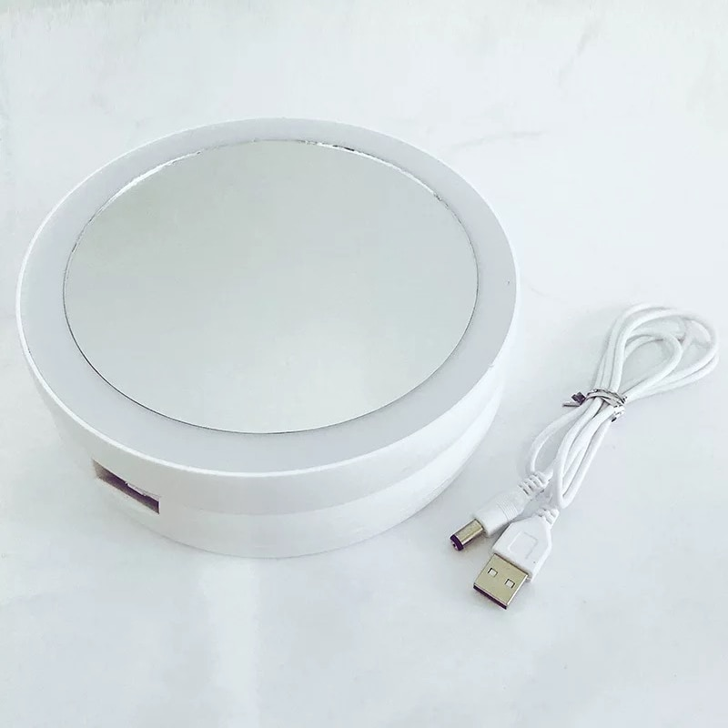 Foldable LED Lamp Makeup Mirror Round Shape Desktop Portable Circular Multifunctional 10 Times Magnification Double-Sided Mirror enlarge