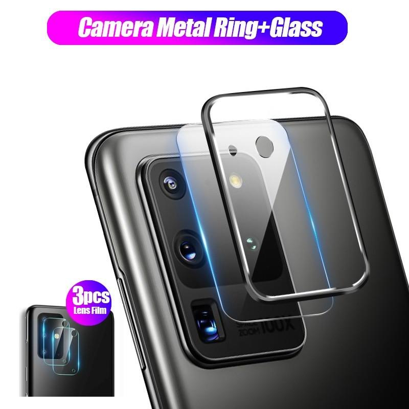 Cristal templado HD de protección de pantalla de lente de cámara para Samsung Galaxy S20 Plus S20 + S20 Ultra lente anillo de Metal para S10 S9 Plus S10E