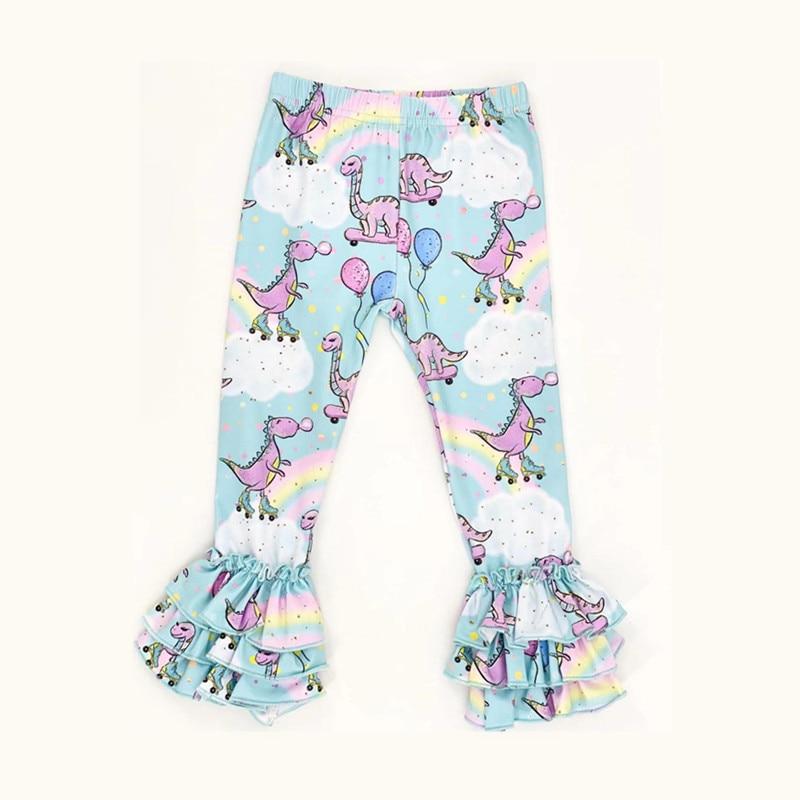 Rainbow Dinosuar Ruffle Pants Girls Milk Silk Triple Ruffle Leggings Toddler Girl Bell Bottoms Kids Trousers Spring Girl Clothes