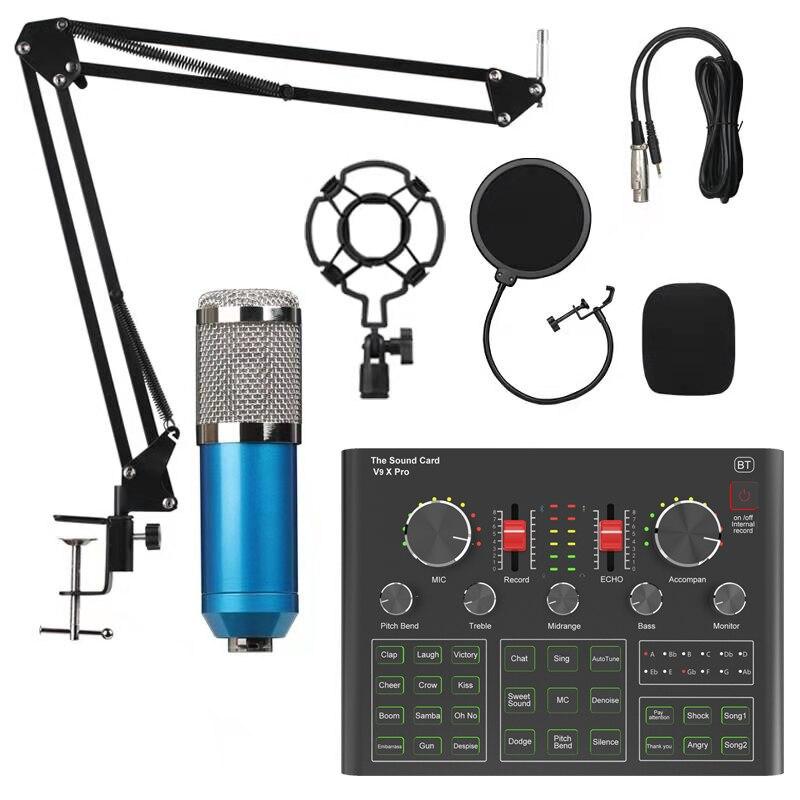 BM800 Condenser Microphone Sound Card V9X PRO Mixer Live Broadcast Recording Set Mic Phone K Song Computer Karaoke Sing enlarge