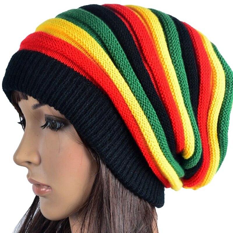 Зимняя шерстяная вязаная шапка в полоску с радужными полосками, для мужчин и женщин, на Ямайке, дешево