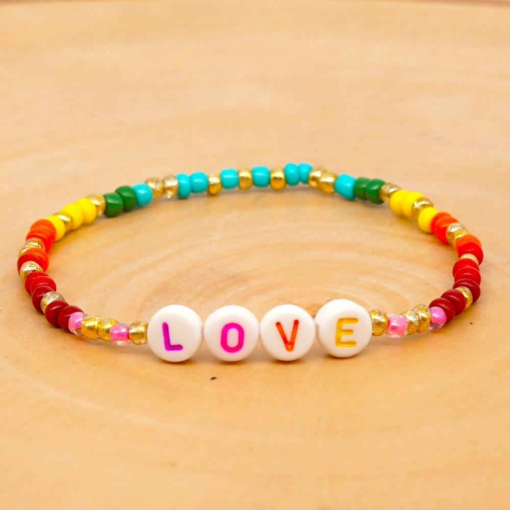GO2BOHO Bracelets 2020 Letter Custom Bracelet Women Rainbow PEACE And LOVE Pulseras Bohemian Handmade Multicolor Jewelry Gift
