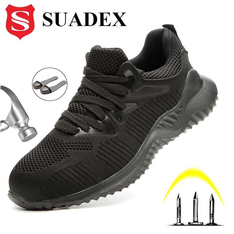 SUADEX الرجال أحذية عمل واقية الأحذية الذكور الخريف الصلب تو أحذية مكافحة تحطيم واقية البناء سلامة العمل أحذية رياضية