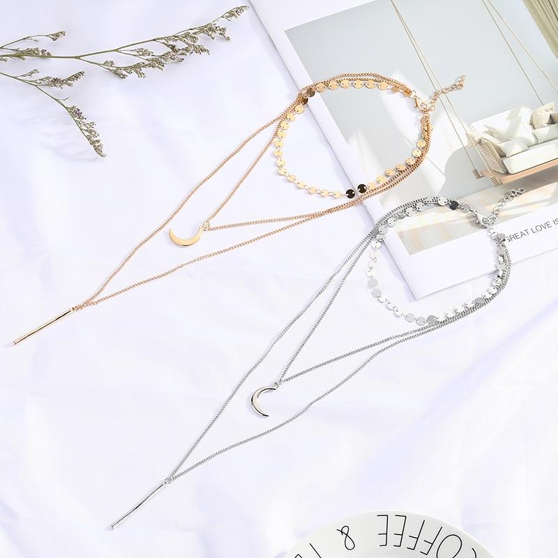 Boho redondo Luna cilindro largo collar tres capas cuerno gargantilla collares para regalo de Navidad joyería femenina Dropshipping