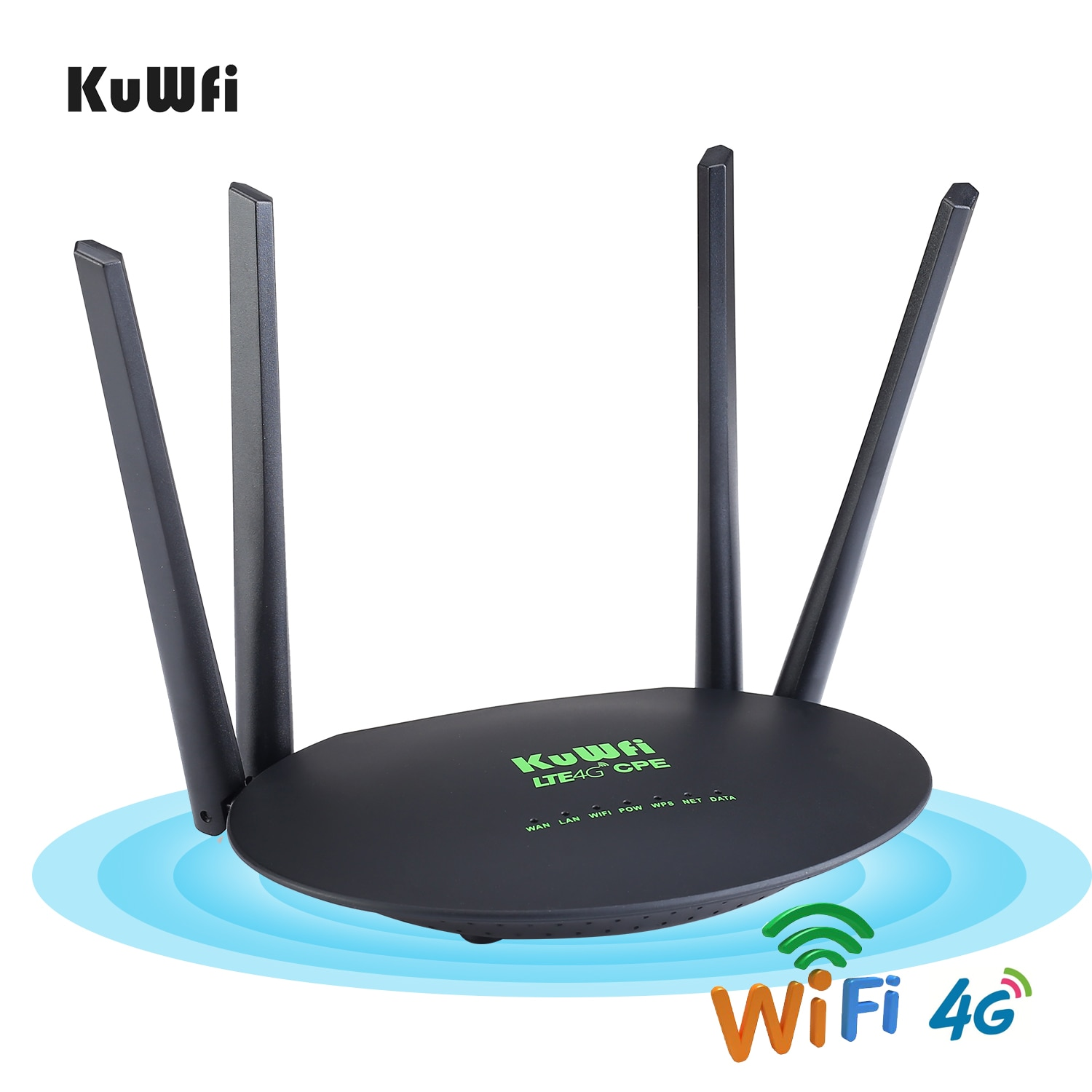 KuWfi Wireless CPE 4G LTE Wifi Router 300Mbps 3G/4G With Sim Card Slot Wan/Lan Port 4pcs External Antennas