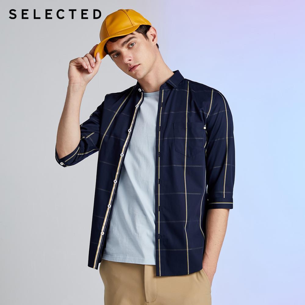 SELECTED Men's 100% algodón Plaid Slim Fit 3/4 mangas de negocios Casual recortado camisa S   419231508