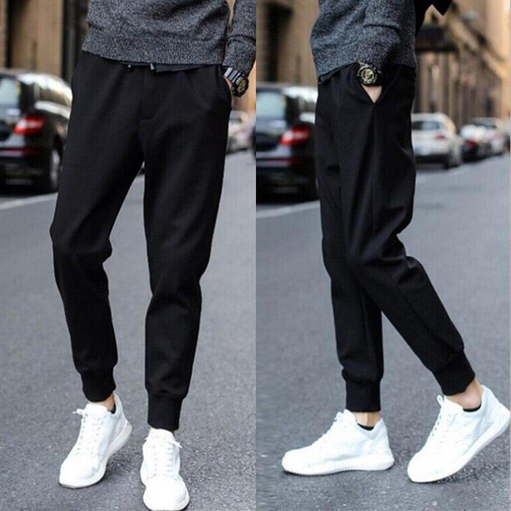Pantalon de Jogging pour homme, pantalon de sport doux avec élasticité, couleur unie pour Gym, football et basket-ball # C