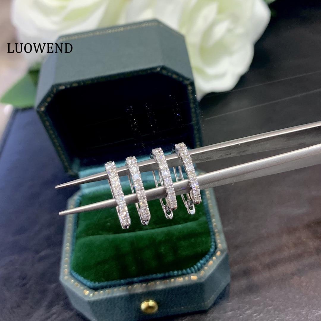 LUOWEND 100% 18K Solid White Gold (AU750) Hoop Earrings 0.30 CT Real...