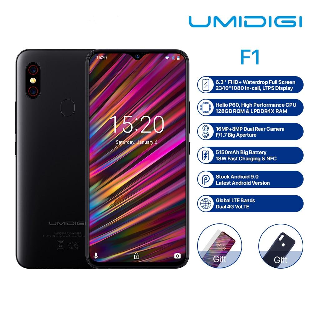 "UMIDIGI F1 6,3 ""FHD + Android 9,0 teléfono móvil 4GB 128GB Helio P60 Octa Core de huellas dactilares de desbloqueo NFC FCC Dual SIM 16MP Smartphone"