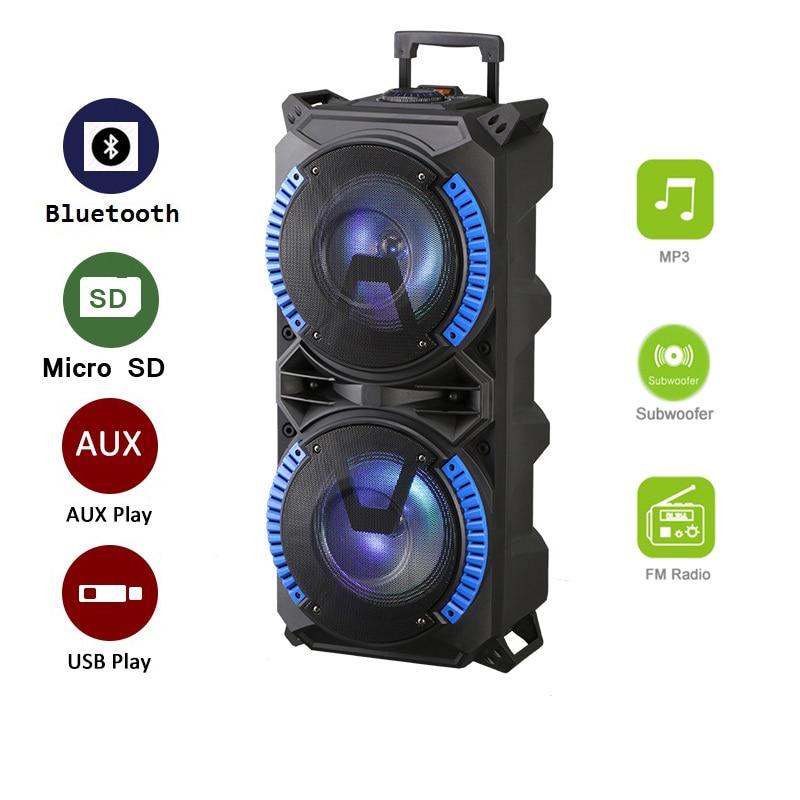 نظام مكبر صوت ترولي لاسلكي محمول ، مكبر صوت عالي الطاقة ، متوافق مع Bluetooth ، صوت ستيريو داخلي وخارجي DJ ، مع USB