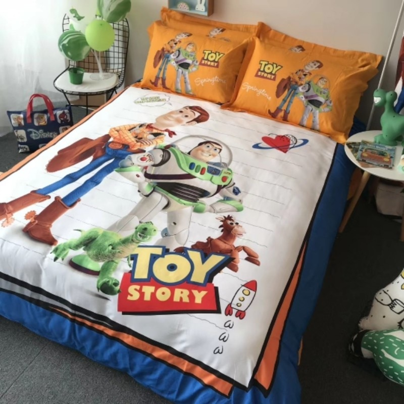 Disney Yellow Toy Story Buzz Lightyear Pattern Duvet Quilt Cover Pillowcase Bed Linen Set Boy Gift Bedroom Decor Home Textile