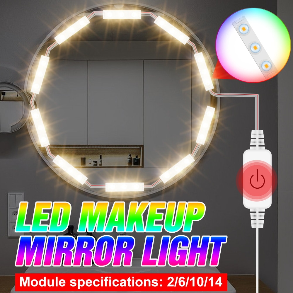 LED 5V Beauty Cosmetic Light Decoration Wall Mirror Lamp LED Kit Makeup Lamp USB Dimmable 2 6 10 14 Modules Dresser Table Light