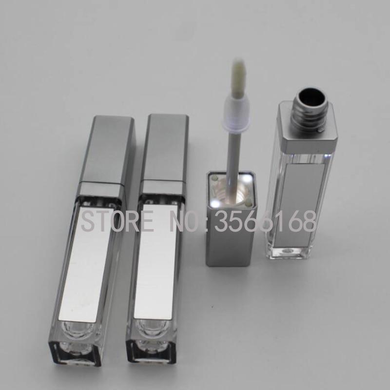 10/30/50 Uds 7,5 ml maquillaje vacío DIY botella brillo labios negro/tubo de brillo de labios cuadrado plateado con LED espejo de luz botella Labial glair