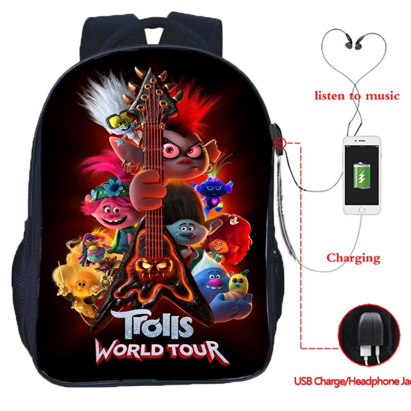 Nueva mochila de película Trolls World Tour Poster para niños y niñas, bonita mochila de dibujos animados para hombre/mujer, bolsa de viaje con USB de doble capa de Anime