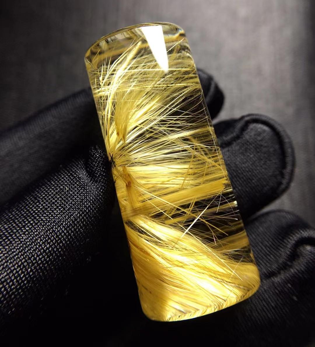 Natural Gold Rutilated Quartz Pendant Brazil 36.3*15.9mm Wealthy Barrel Women Men Women Jewelry 18K Gold AAAAAA
