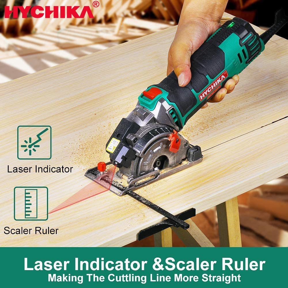 HYCHIKA 230V Mini Circular Saw 500W Plunge Cut Track Cutting Wood Metal Tile Cutter 3 Blade Saws Electric Saw Power Tool