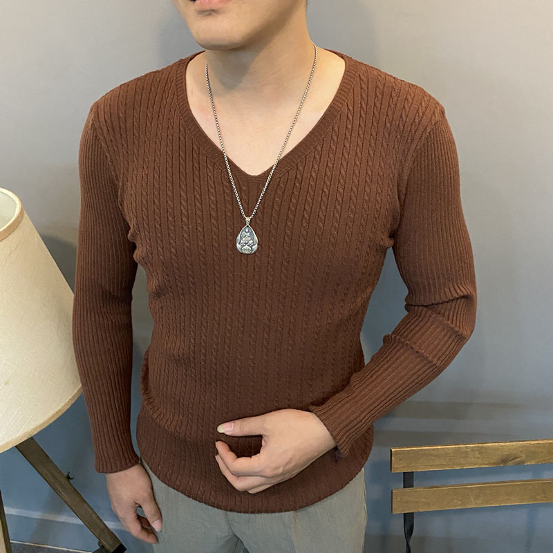 Spring and Autumn V-neck Long-sleeved Sweater Men's Slim Bottoming Shirt All-match Fashion Korean Twisted Sweater