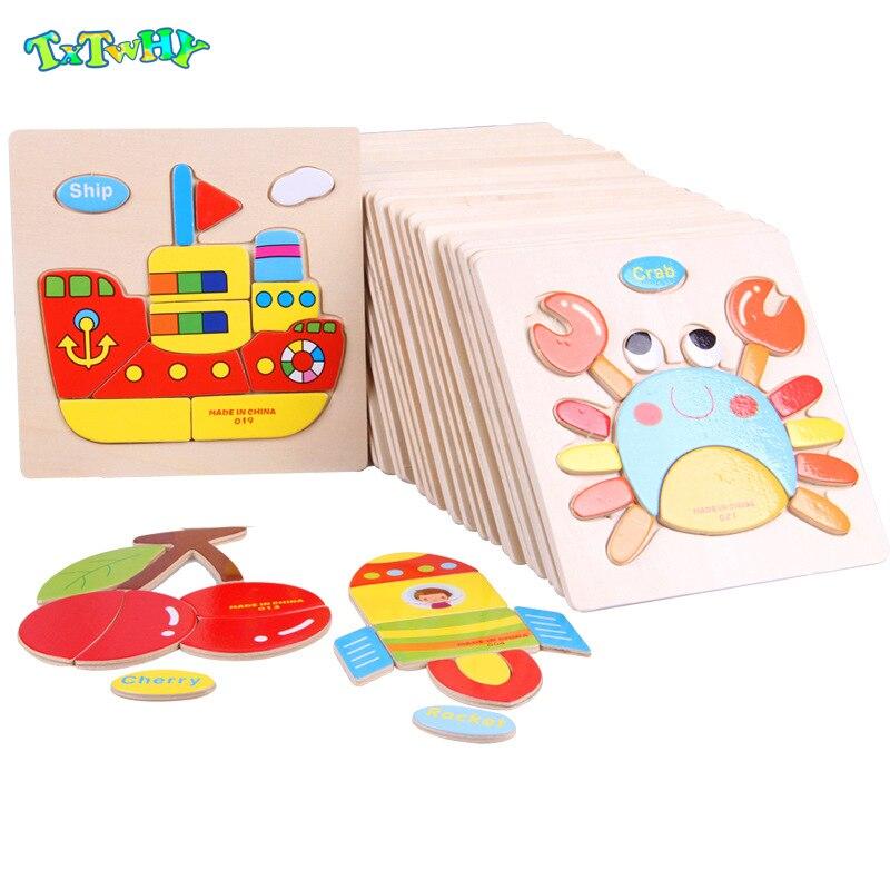 Juguetes Montessori Juguetes Educativos de madera para niños rompecabezas de Aprendizaje Temprano dibujos animados 3D niños ejercicio matemáticas regalo de partido