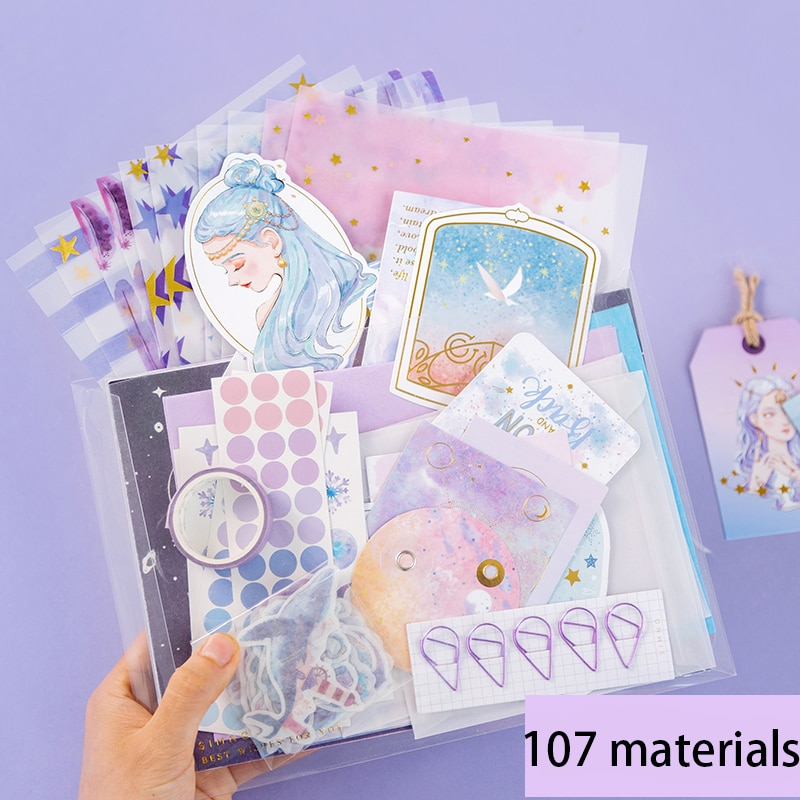 SaYing 4 Styles Hand Account Material Paper Spree Set Small Fresh Ins Sticker Tape DIY Decoration