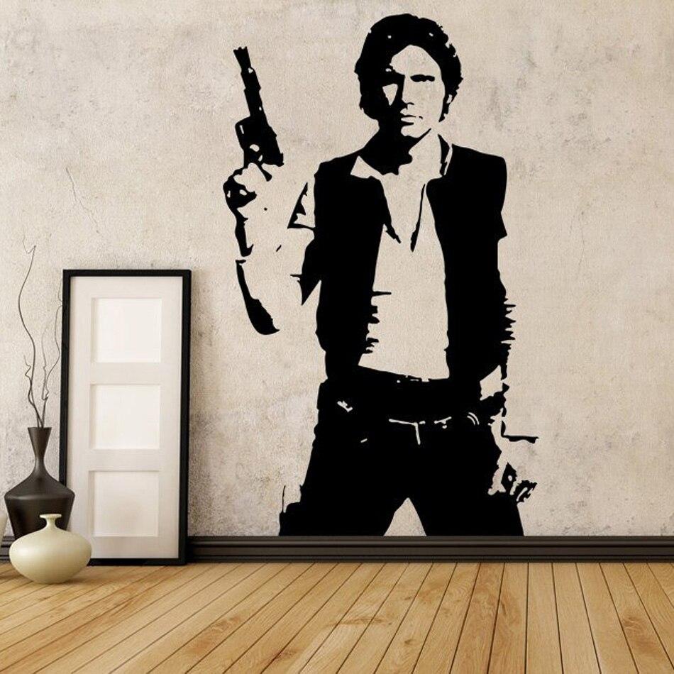 Star Wars Han Solo de Decalques Da Parede do Vinil Adesivos de Parede Mural Decoração Do Quarto Para A Sala de estar Decorações Art Poster QQ1016