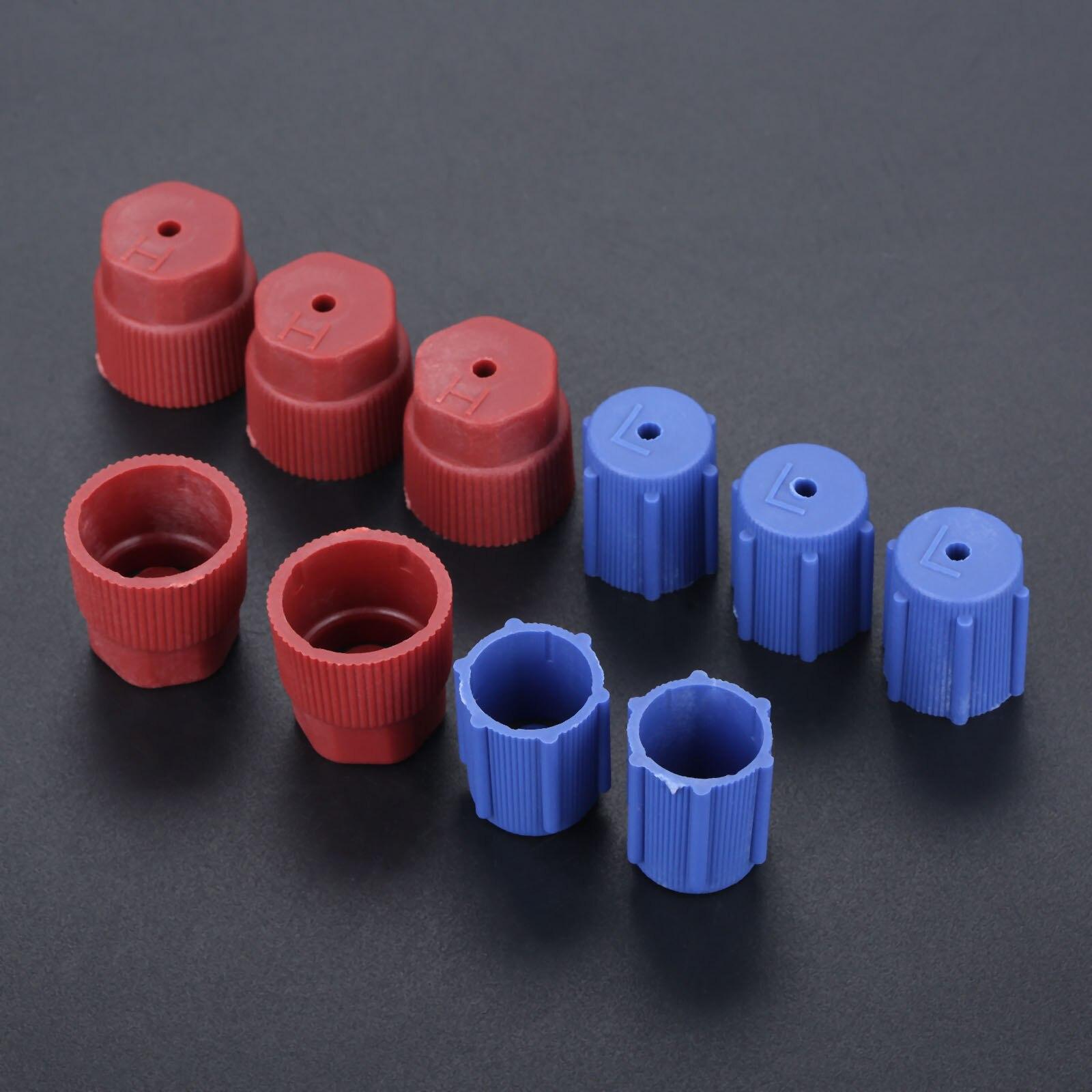 10 unidades de tapas de servicio de puerto de carga A/C para coche R134a, tapas laterales altas y bajas, tapas de CA rojas y azules, accesorios de aire acondicionado de 13mm y 16mm
