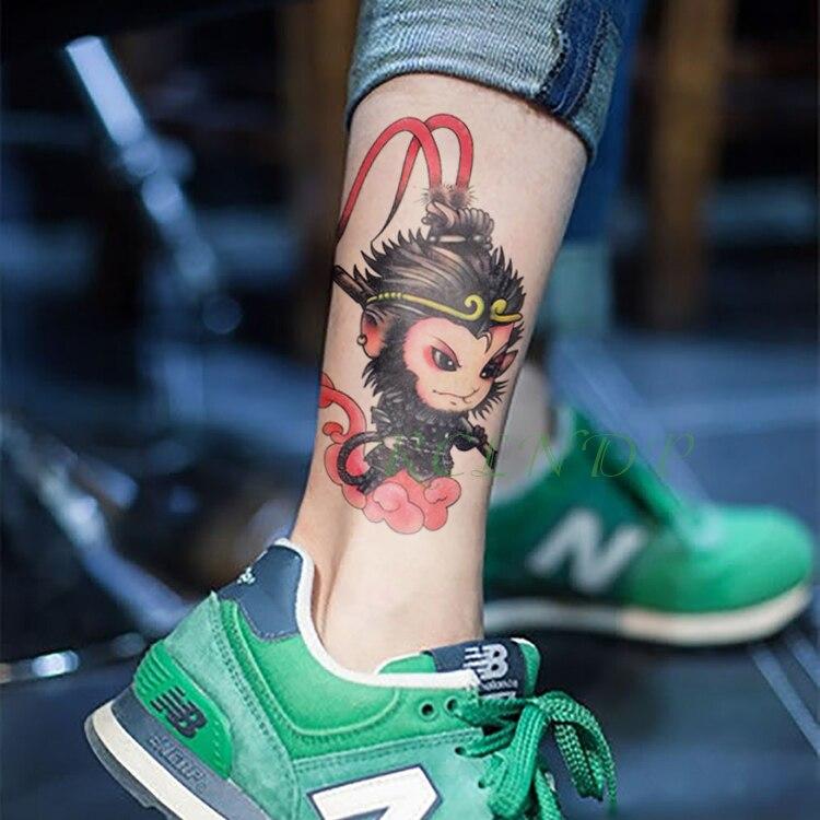 Tatuagem temporária à prova dwaterproof água etiqueta sun wukong monkey king legal falso tatto flash tatoo mão braço tato para menina