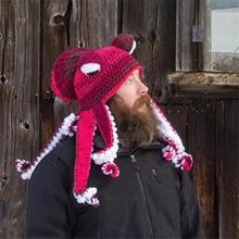 Poulpe barbe main armure tricot laine chapeaux hommes noël Cosplay fête drôle délicat chapeaux hiver chaud Couples chapeau livraison directe