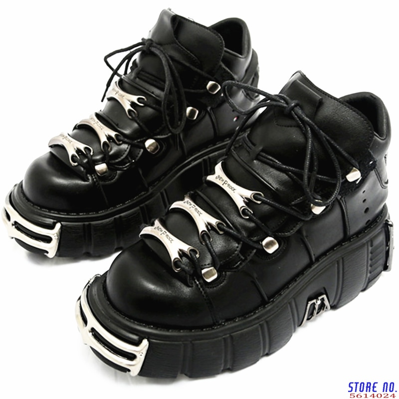 2020 Punk Style Women Sneakers Lace-up 6CM Platform Shoes Woman Creepers Female Casual Flats Metal Decor Tenis Feminino