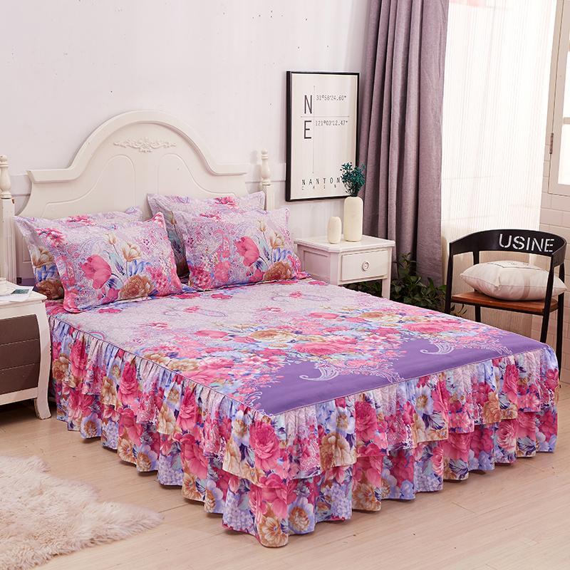 5 Bedskirt الأزهار تكدرت السرير تنورة الرعوية القطن مبطن الدانتيل المفرش هبوط السفينة لغرفة المعيشة 2 الشحن وسادة حالة