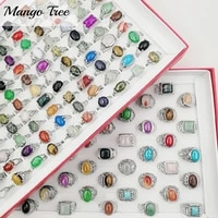 fashin 20pcs natural stone rings retro pine band multicolor imitation silvery couple gem ring mixed style for women mens jewelry