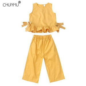 Summer Teen Girls Clothes Set Sleeveless Top Wide Leg Pants 2pcs Outfits For Girls Tracksuit Suit For Girls Children Clothing