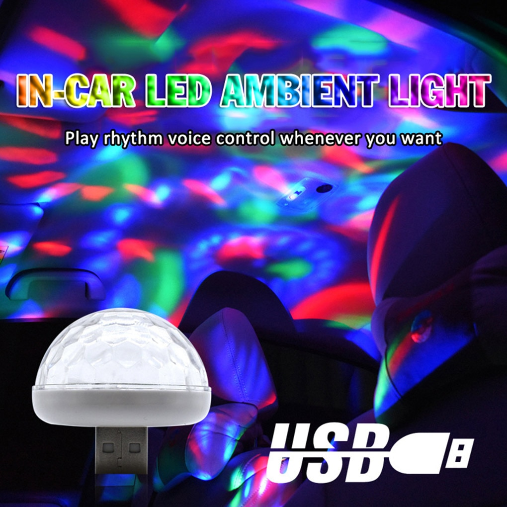 Mini USB Colorful Atmosphere Light Car USB Party Light DJ LED 4W RGB Lamp Club Disco Stage Portable Lights Automatic Rotation